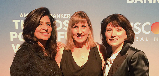 Nandita Bakhshi, Michelle Di Gangi and Cluadine Gallagher at the American Banker Most Powerful Women in Banking & Finance Dinner
