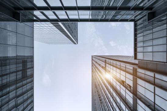 Glass facade of modern building