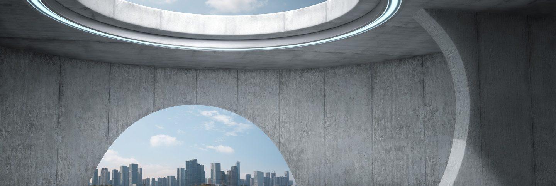Futuristic empty concrete room with city skyline